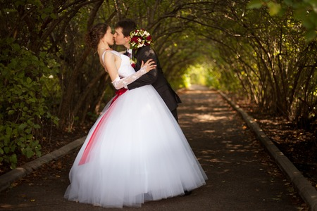 newlywed couple: Bride and groom at wedding ceramony Stock Photo