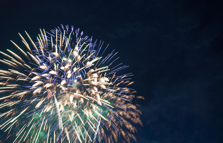 glow pyrotechnics: colorful firework display Stock Photo
