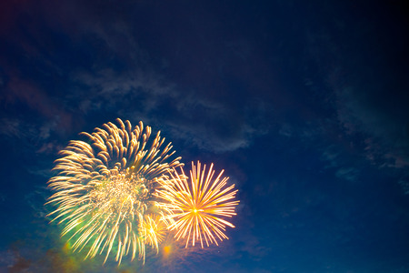 glow pyrotechnics: Brightly colorful fireworks and salute of various colors