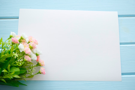 Spring Blossom flowers over clear wood background.