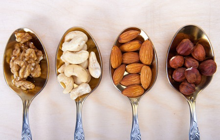 mixed nuts: Mixed Nuts in spoons