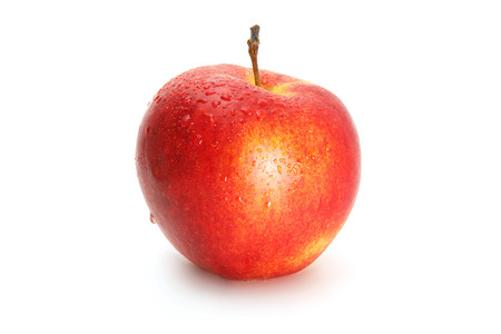 appetizing: Delicious appetizing beautiful fresh red apple isolated on a white background. Stock Photo