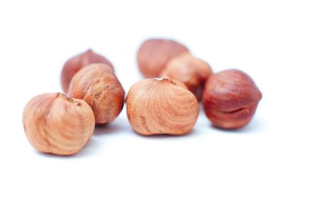 Hazelnuts isolated on white background Standard-Bild