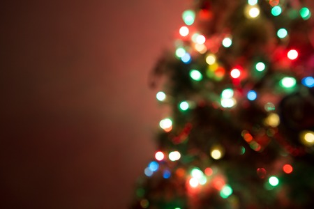 christmas tree decoration: Christmas Tree Lights and Decoration Bokeh Blurred Out of Focus Background