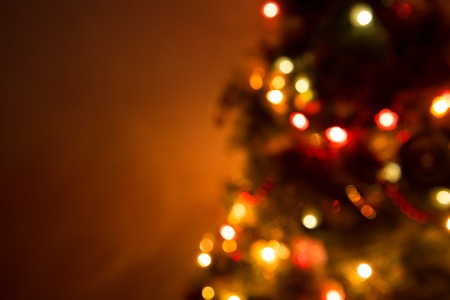 Christmas Tree Lights and Decoration Bokeh Blurred Out of Focus Background