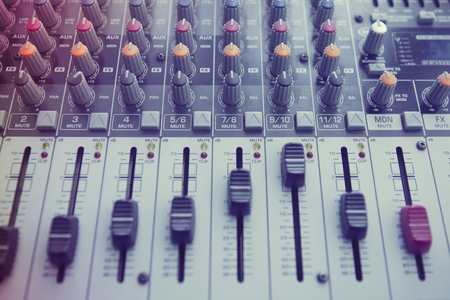 electronic balance: Buttons equipment for sound mixer control. Music Studio Stock Photo