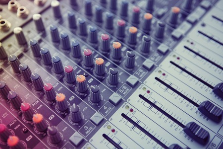 sound mixer: Buttons equipment for sound mixer control. Music Studio Stock Photo