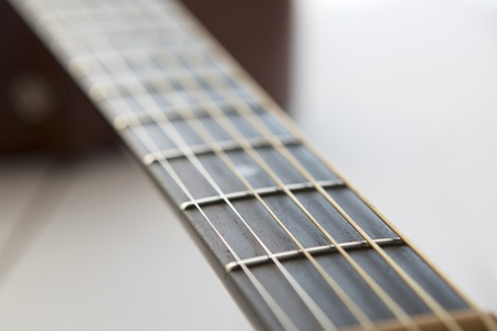 acoustical: Acoustic guitar  on the white wooden table background
