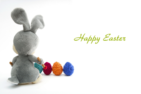 jack rabbit: Easter Handmade Bunny with Eggs in Basket. Happy Easter.