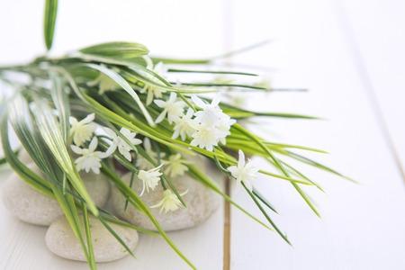 Spa Steine ??mit wilden Blumen auf hölzernen weißen Tisch Standard-Bild - 53677406