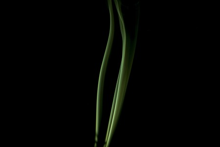 Green colored smoke on a black background. Stock Photo