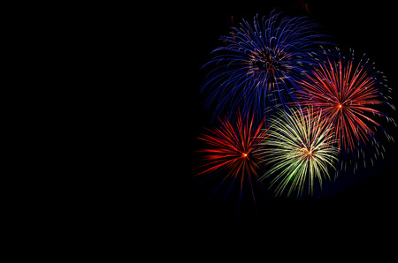 white work: Fireworks. Independence Day, 4th of July, Fourth of July or New Year. Stock Photo