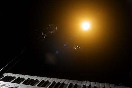 band bar: Microphone and piano in the dark background