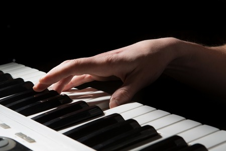 pianist: Pianist musician piano musical instrument playing. Music piano with man performer. Music and concert concept.