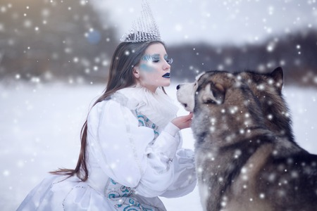 huskies: Snow queen in winter. Fairy tale girl with Huskies or Malamute. Beautiful snow queen witn dogs. Christmas.