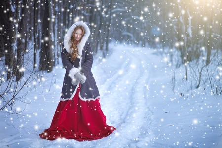Beautiful young woman. Fairy tale girl in sheepskin coat in magic forest. Copy space. Christmas. Stock Photo