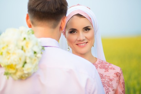 Wedding muslim couple during the marriage ceremony. Muslim marriage.