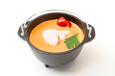 Metal pot of fresh made Creme Soup with chicken on white.