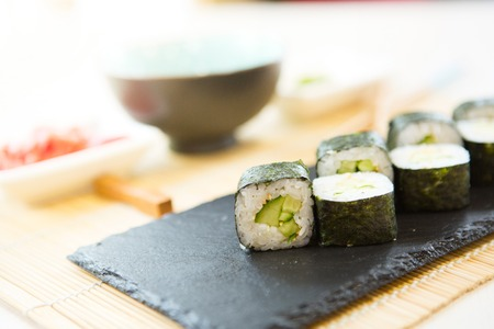 Sushi served on a plate. Sushi menu. Japanese food. Stock Photo