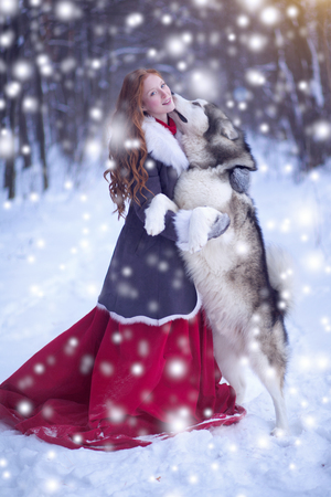 Attractive woman with the dogs. Huskies or Malamute.