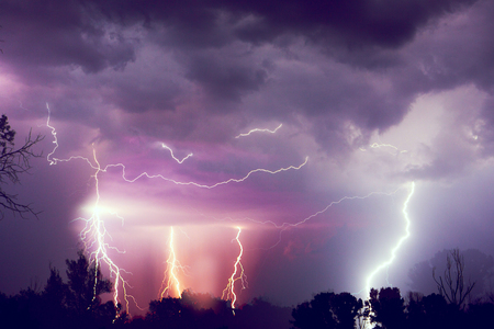 Lightning with dramatic clouds. Night thunder storm. Stockfoto