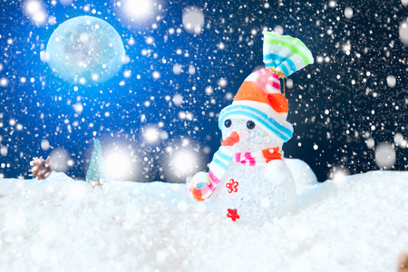 Snow Man full moon snowflakes background.