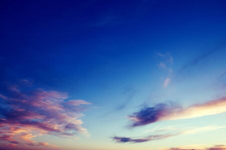 Dramatic blue and purple colors sunset and sunrise sky in summer time. 写真素材