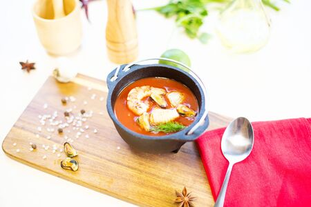 Italian restaurant cuisine, healthy delicatessen seafood soup. Healthy and tasty food.