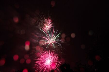 Abstract colored firework background with free space for text . Great holiday of a great country. The celebration of Independence Day in the United States of America. 4th of July.