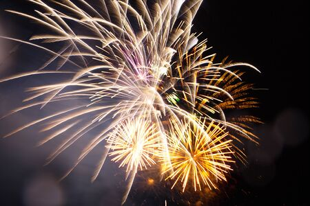 New Year celebration fireworks . Great holiday of a great country. The celebration of Independence Day in the United States of America. 4th of July. Stock Photo