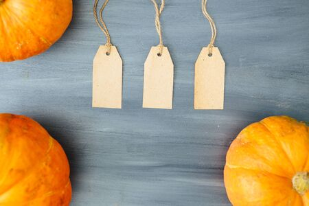 Thanksgiving background. Pumpkin with three tags on gray wood table background with copy space. Thanksgiving and Halloween concept. View from above. Top view. Copy space for text and design