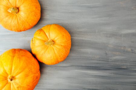 Fall Thanksgiving and Halloween pumpkins over gray wood table background shot from directly above Thanksgiving and Halloween concept. View from above. Top view. Copy space for text and design