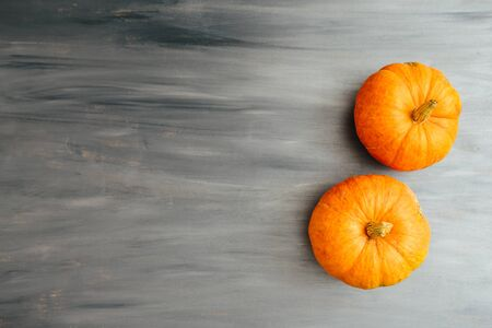 Autumn top border of two orange pumpkins on a light gray wood background with copy space Thanksgiving and Halloween concept. View from above. Top view. Copy space for text and design