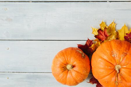 Thanksgiving background: pumpkins and fallen leaves on wooden background. Thanksgiving and Halloween concept. View from above. Top view. Copy space for text and design Stock Photo
