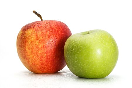 Delicious appetizing beautiful fresh green and red apples isolated on a white background. Stock fotó