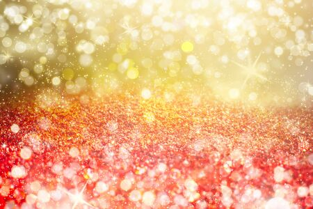 Red bokeh holiday textured glitter background. Shiny glitter bokeh christmas background. 写真素材