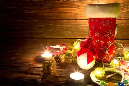 Christmas decorations on wooden table. New Year concept.