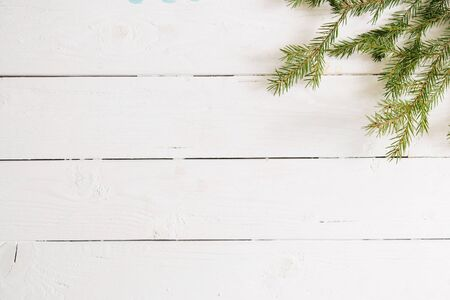 Christmas or New Year background. Fir branches, flat lay, blank space for a greeting text Reklamní fotografie