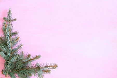 Pink wooden christmas background with fir-tree in the corner. Frame. View from above
