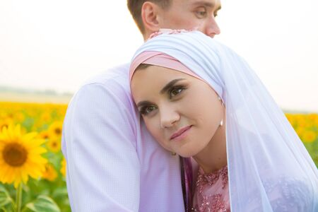 Bride and groom at a islamic wedding ceremony Stock Photo