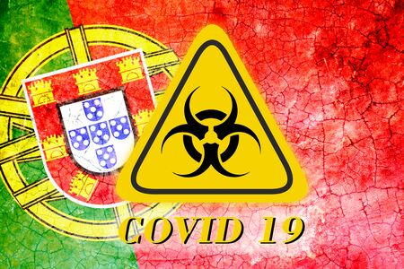 Quarantine sign COVID 19 on the background of the flag of Portugal Foto de archivo