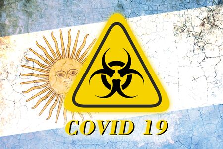 Quarantine sign COVID 19 on the background of the flag of Argentina . Virus Pandemic Protection Concept