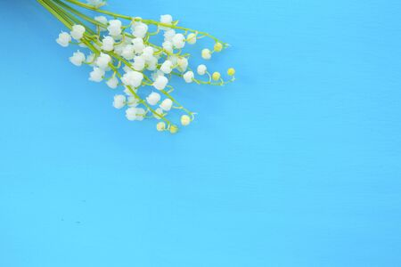 White beautiful lilies of the valley on the blue wooden surface. Stock Photo - 150307538