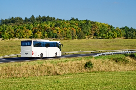 White bus on the road in the countryside, fall colors