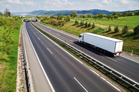 野生動物、高速道路の転移と廊下を高速道路に行く白いトラックは、バック グラウンドで市と森林に覆われた山、上からの眺め 写真素材