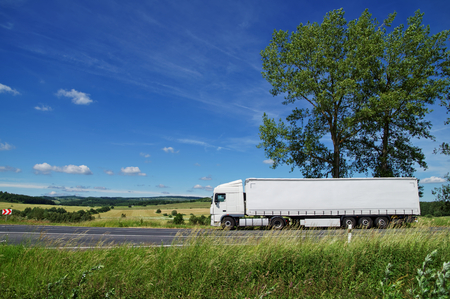 Rural landscape with white truck on the road, tall trees against the blue sky with white clouds