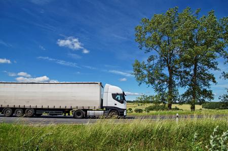 道路上の白いトラック、背の高い木は白い雲と青い空を背景と農村風景