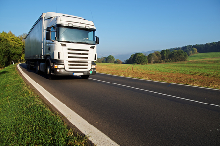 White truck on the road in the countryside, field in the background, forest on the horizon