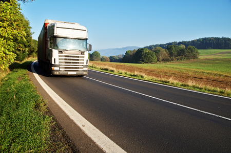 White truck on the road in a rural landscape, field in the background, forest on the horizon