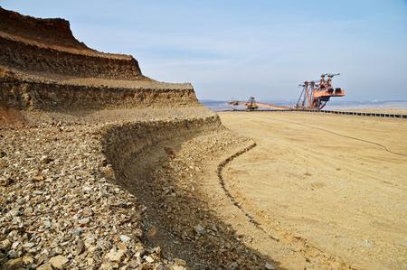 mineria: litera pared excavada mina a cielo. Miner�a excavadora gigante. Foto de archivo